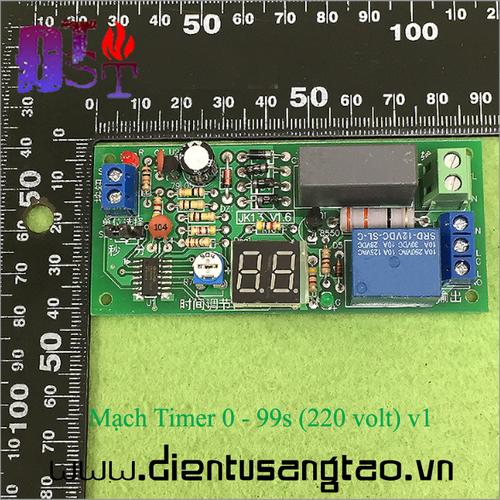 Mạch timer hiển thị led 7 thanh 0 - 99s  220 volt  v1