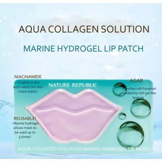 MẶT NẠ DƯỠNG MÔI NATURE REPUBLIC AQUA COLLAGEN SOLUTION MARINE HYDRO GEL LIP PATCH - Nạ môi thumbnail