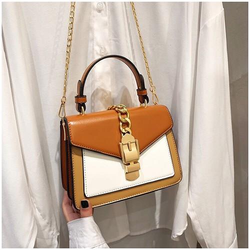 Túi xách tay đeo chéo nữ thời trang phối 2 màu t56 form túi hộp size 20x17x10cm phụ kiện thời trang nữ