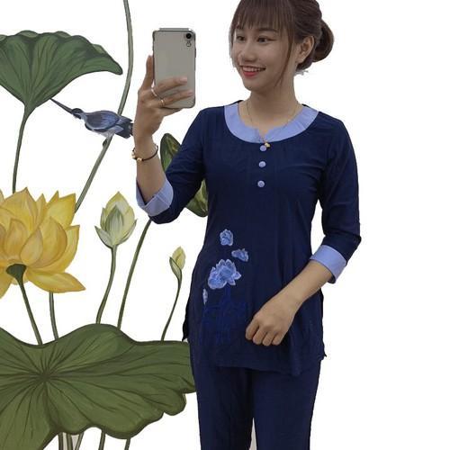Quần Áo nữ Phật Tử Đi Chùa thun cổ tròn phối thêu hoa hồng  A02C - 11677391 , 20021496 , 15_20021496 , 180000 , Quan-Ao-nu-Phat-Tu-Di-Chua-thun-co-tron-phoi-theu-hoa-hong-A02C-15_20021496 , sendo.vn , Quần Áo nữ Phật Tử Đi Chùa thun cổ tròn phối thêu hoa hồng  A02C