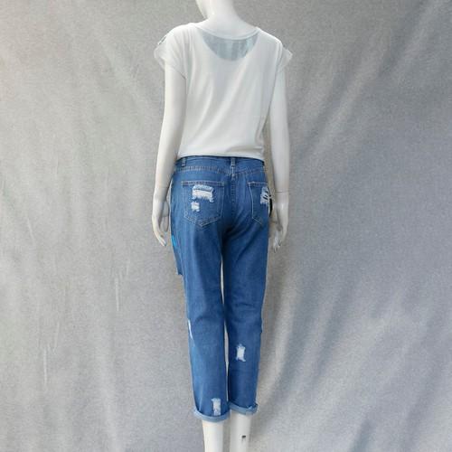 Set bộ quần jeans rách áo thun mã: mb006