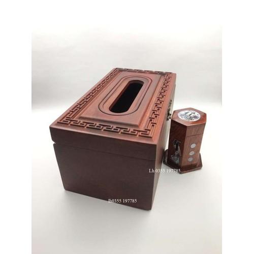 Hộp đựng khăn giấy gỗ hương đỏ cao cấp trạm khắc triện chữ công + tặng kèm 1 hộp đựng tăm gỗ hương khảm trai hình cô gái
