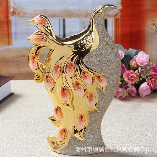 Bình bông chim khổng tước vàng tặng 9 cọng lông công phong thủy thiên nhiên tphcm