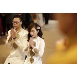 Áo dài cưới cặp đôi - áo dài cưới Gấm