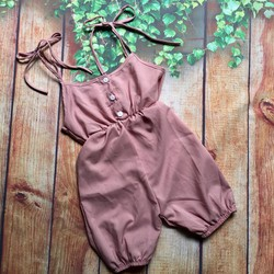Jumpsuit dây liền thân quần lở ống túm cho bé gái