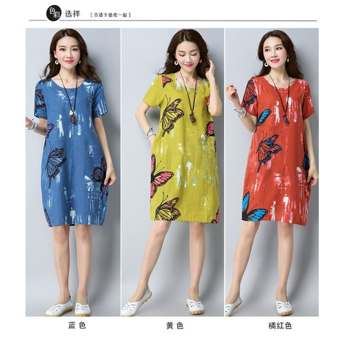Đầm suông nữ họa tiết bướm 3d1214