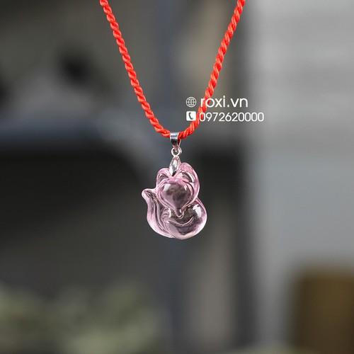 Vòng cổ nữ mặt hồ ly pha lê hồng móc bạc - vòng phong thủy may mắn  - vòng cổ nữ - dây chuyền nữ đá tự nhiên