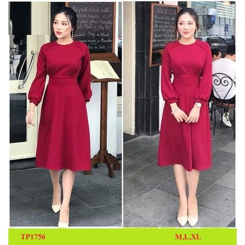Đầm nữ dự tiệc công sở dạo dạ hộiđầm đỏ vintage cổ tròn đính nút tay dài bồng kèm clip