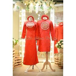Áo dài cưới cặp đôi , áo dài cưới màu đỏ