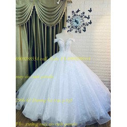 áo cưới tay ngang trắng ren sang trọng