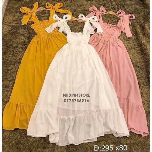 Đầm nữ hai dây thắt nơ - 12313394 , 20056859 , 15_20056859 , 115000 , Dam-nu-hai-day-that-no-15_20056859 , sendo.vn , Đầm nữ hai dây thắt nơ