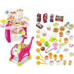 Bộ đồ chơi xe đẩy siêu thị mini cho bé