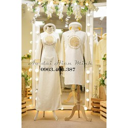 Áo dài cưới màu trắng, áo dài cưới cặp đôi