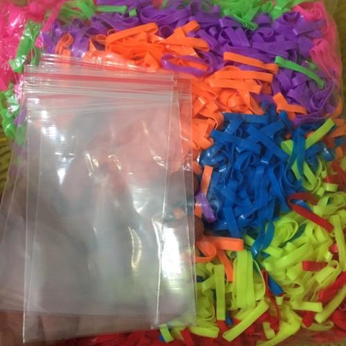 0.5kg thun buộc tóc kèm 25 bịch zip trong tách lẻ bán chọn màu