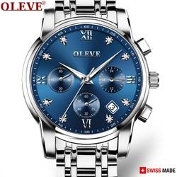 Đồng hồ Nam OLEVE Thụy Sỹ Chạy 6 Kim – Kính Tráng Sapphire – Dây thép đúc đặt cao cấp
