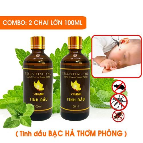 Combo 2 tinh dầu bạc hà 100ml thơm phòng giải cảm cực hiệu quả