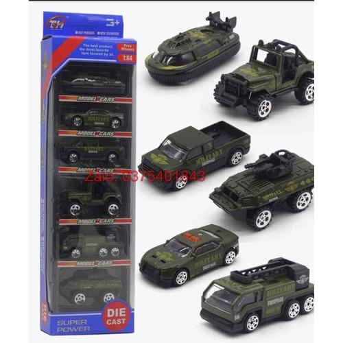 Set 6 ô tô quân sự bằng kim loại