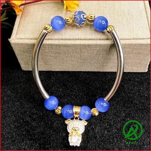 Vòng tay nữ - vòng đeo tay nữ đá mã não 10mm mix cầu kim tiền đẹp  mắt .màu sắc như hình v370-10