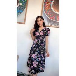 [SIÊU SALE] Đầm xòe voan lụa hoa lá 45-60kg thiết ké cao cấp xanh, den