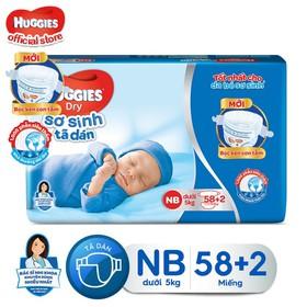 Tã Dán Sơ Sinh Huggies New 58+2 miếng cho bé dưới 5kg - 8935107200577