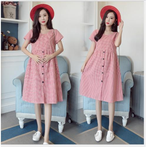 Đầm bầu váy bầu công sở  ca rô hồng đen