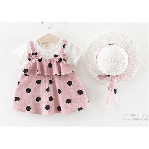 Hàng đẹp váy yếm chấm bi kèm nón