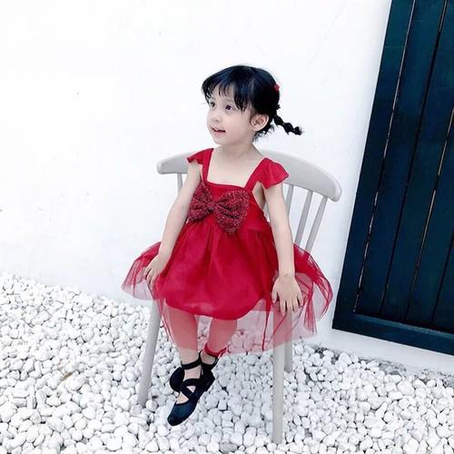 Hàng đẹp váy công chúa nơ đỏ