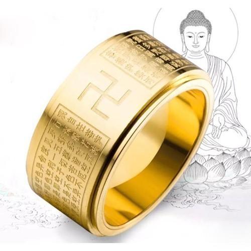 Nhẫn xoay khắc bát nhã tâm kinh và chữ vạn - 7 kích cỡ