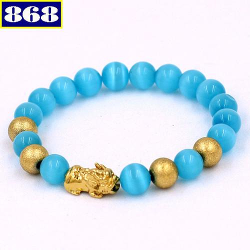 Vòng tay mắt mèo xanh biển 8 ly vmexbthvb8