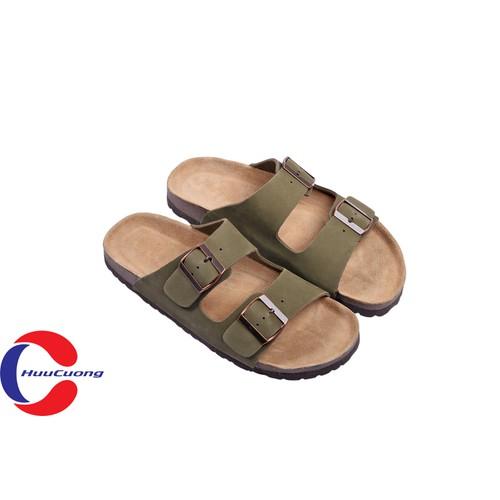 Dép sandal 2 khóa da bò xanh