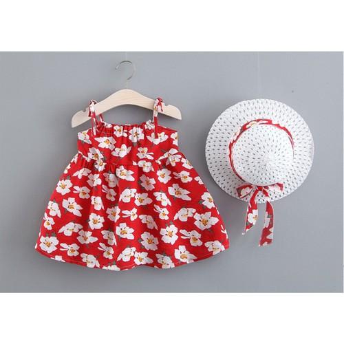 Hàng đẹp set váy hoa kèm nón