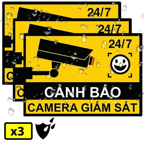 Bộ 3 miếng sticker dán 7x10cm cảnh báo có camera giám sát cctv thật hay giả - giấy decal kính vinyl không thấm nước, có màng bảo vệ uv mực lâu phai