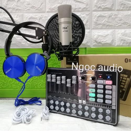 Trọn bộ live stream thu âm sound card H9 Bluetooth và micro ISK AT 100 đủ phụ kiện