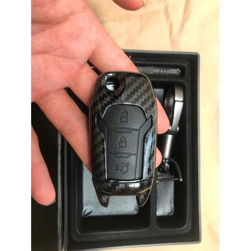 Bao chìa khóa Ford Ranger chìa gập mẫu cacbon