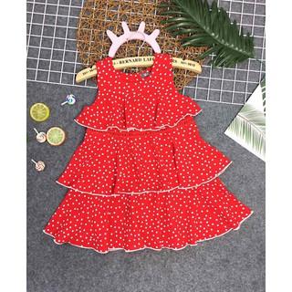 Váy Đầm Bé Gái 3 tầng đỏ chấm bi đầm dự tiệc cho bé gái Cao Cấp đầm elsa bé gái Size đại 9-14 - đầm tầng bé gái thumbnail