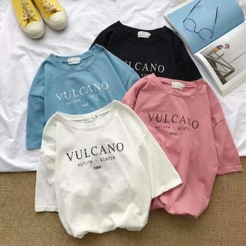 Áo thun in chữ vulcano dễ thương