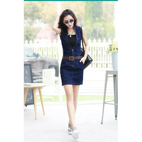 Đầm jeans form ôm cổ v thời trang