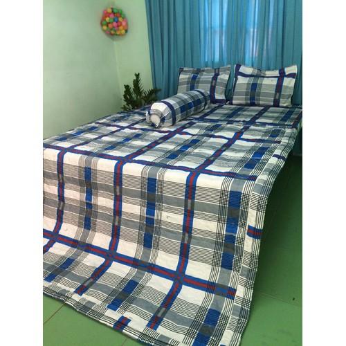 Bộ drap cotton thắng lợi 5 món kèm mền, 1.6*2m, áo gối chần gòn.
