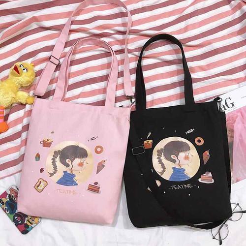 Túi tote hình cô gái màu đen như hình