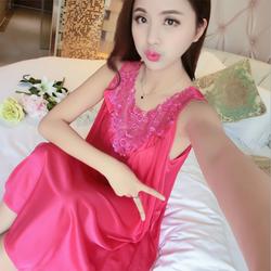 Đầm Váy ngủ nữ phi lụa cao cấp 2 dây ren cổ mềm mại thoáng mát hồng đậm-VN2D39
