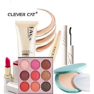 Set Trang Điểm 6 Món Kem Nền Clever Cat + Thanh Che Khuyết Điểm + Son Siêu Lì + Phấn Mắt Trái Tim Lameila 8 Ô + Mascara 2 Đầu + Phấn Phủ Chống Nhờn - STD92 thumbnail