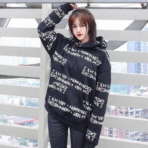 Áo hoodie nữ nỉ ngoại phối chữ in, 2 màu đen trắng