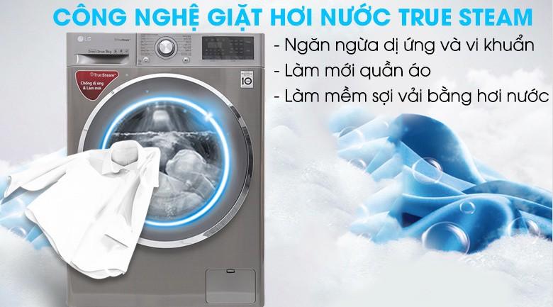 Công nghệ giặt hơi nước Truesteam - Máy giặt LG inverter 9 kg FC1409S2E
