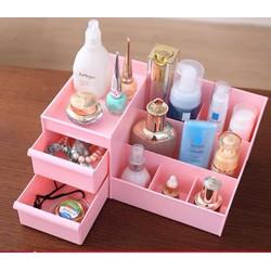 Kệ đựng mỹ phẩm 3 tầng 2 ngăn kéo, hộp đựng đồ trang điểm, makeup bằng nhựa cao cấp