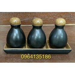 Set lọ tinh dầu phòng tắm gốm sứ Bát Tràng