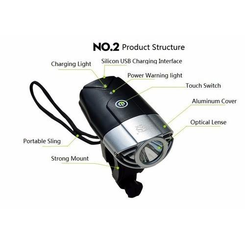 Đèn xe đạp - đèn cảm ứng 3 chức năng - qt65