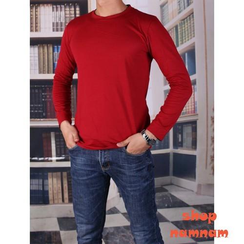 Áo thun nam - áo thun dài tay cổ tròn màu đỏ hàng đẹp