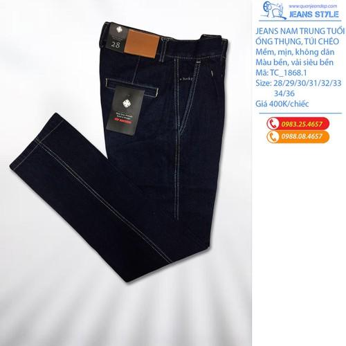 1868.1 quần jean nam trung tuổi, ống thụng túi chéo