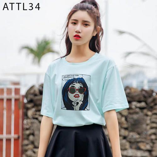 Áo thun tay lỡ in họa tiết cô gái đeo kính siêu hot đủ màu - attl34