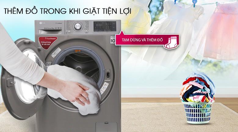 Thêm đồ trong khi giặt - Máy giặt LG inverter 9 kg FC1409S2E